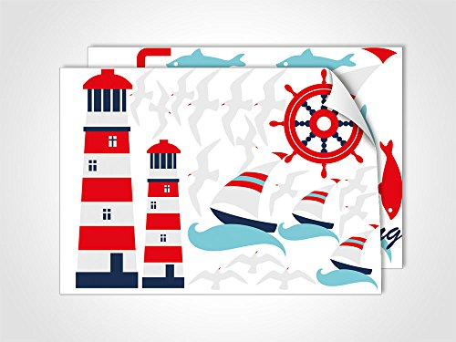 GRAZDesign Leuchtturm Wandtattoo maritim Bad Badezimmer WC, Wasserfeste Fliesenaufkleber Fische, Dekoration Fliesentattoos Rot Blau Weiß/DIN A4 (2Stück)
