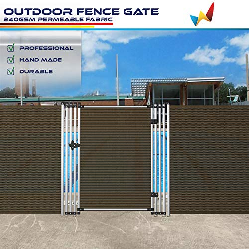 Windscreen4less Outdoor Privacy Fence Gate Door for Garden Backyard Yard Pool Fence Porch Entry Way Gate Removable 6' H X 2.5' W