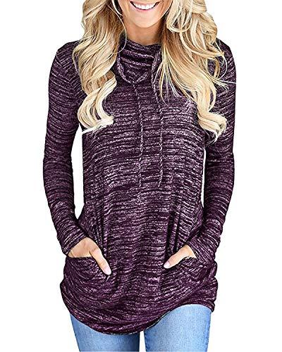 Yidarton Damen Sweatshirt Wasserfallausschnitt Pullover Kordelzug Rollkragen Langarmshirt Tunic Top Oberteil (Violett, M)
