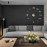 Baoer - Orologio da parete 3D senza cornice fai da te, silenzioso, per casa, soggiorno, camera da letto, colore: Argento