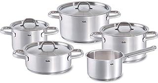 Fissler family line / Juego de ollas de acero inoxidable, compuesto por 5piezas (3 ollas de cocción, 1 rustidera, 1 cazo) con tapaderas, lavable en el lavavajillas y apto para inducción