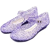 TANDEFLY Princess Girls Sandals Jelly Mary Jane Flats Shoes Dress Up Dance Party Cosplay Shoes for Kids Toddler Purple