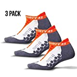 Thirty 48 Running Socks for Men and Women Features Coolmax Fabric That Keeps Feet Cool & Dry - 1 Pair or 3 Pair ([3 Pairs] Orange/Gray, Large - Women 11-13 // Men 10-11.5)