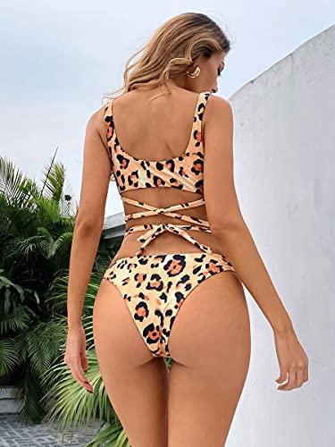 NBgy Bikinis para Mujer Traje de baño de Bikini descarado Leopardo criscross (Color : Multicolor, Size : L)