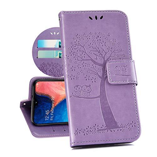 Kompatibel für Xiaomi Redmi 7 Hülle Ledertasche Flip Case,QPOLLY PU Leder Klapp Geldbörse Bäume Muster Brieftasche Schutzhülle mit Magnetverschluss Kartenfächer Stand Bookstyle Handyhülle,Lila