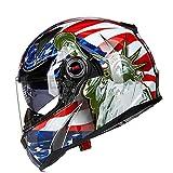 QXFJ Casco Moto,Casco Integral Cascos modulares CertificacióN Dot/ECE FRP Casco Motocicleta Lente Doble con Ajuste Airbag con Bloqueo Lente Casco Motocicleta Gama Alta 4 Colores