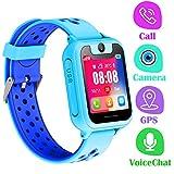 Orologio Telefono GPS Bambini - Smartwatch con GPS LBS Tracker Posiziona Fotocamera Gioco di Matematica Torcia Elettrica Pedometro per Regalo Cresima Ragazzo Ragazza (GPS, Blu)