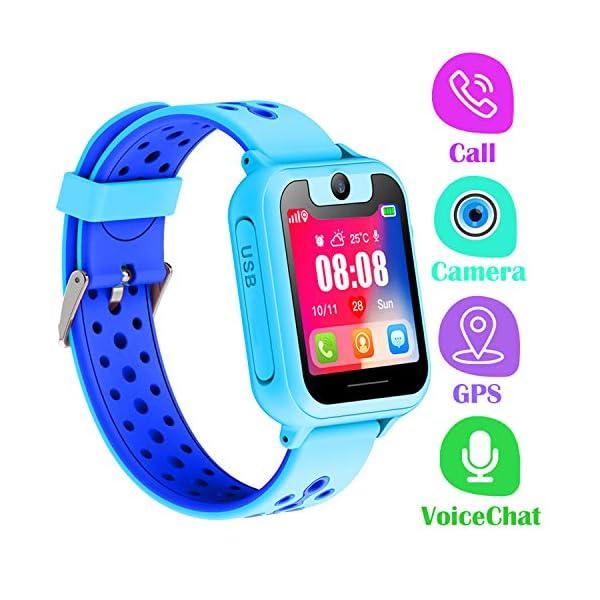 PTHTECHUS Telefono Reloj Inteligente LBS Niños - Smartwatch con Localizador LBS Juegos Despertador Camara Linterna per… 1