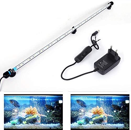 SolarNovo 18-112cm LED Aquarium-Licht Unterwasser BeleuchtungAufsatzleuchte Abdeckung Wasserdicht Lampe Stecker EU für Fisch Tank mit Fernbedienung RGB Farbwechsel (1.8 * 92cm, Weiß & Blau)