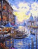 Gofission Paint by Numbers Venice Water City Boat Building, 40,6 x 50,8 cm, kit de pintura para números (Venecia, sin marco)