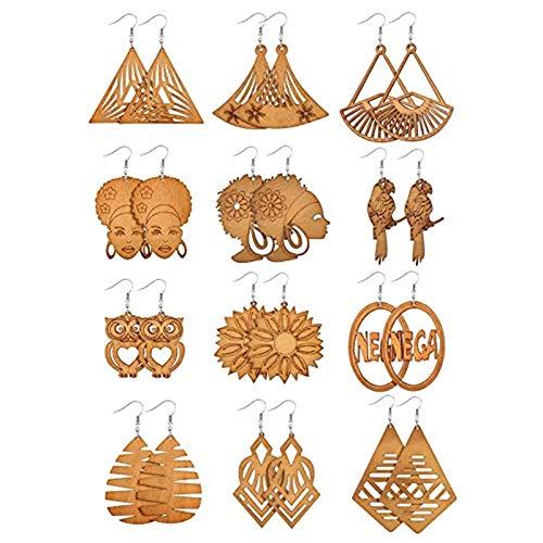 N/A/ SWEETWU - Juego de 12 pares de pendientes de madera africana con colgante de madera bohemia