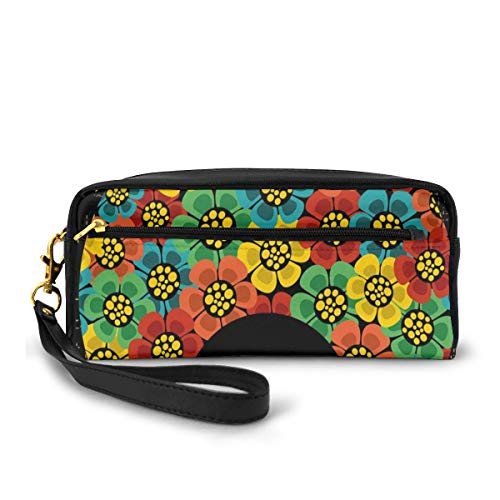 Pencil Case Pen Bag Pouch Stationary,Abstract Woman Portrait Hair Style with Flowers Sunglasses Lips Graphic,Small Makeup Bag Coin Purse