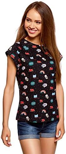 oodji Ultra Mujer Camiseta Estampada de Algodón