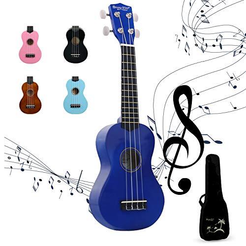 Ukelele Soprano Para Principiantes Niños Estudiantes y Adultos Strong Wind 21 Pulgadas Cuadro Cuerdas De Satín (Azul)