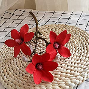 Artificial Flowers Artificial Flowers Magnolia Short Branch with Three Orchid Head Silk Flower for Wedding Home Living Room Decor Wedding Bouquets (Color : Red)
