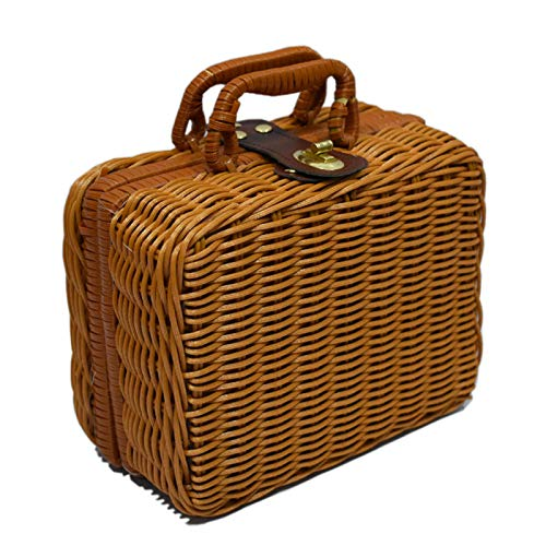 ZQ&QY Hand Made Rattan Storage Basket With Handle,Retro Portable Picnic Box,Multifunctional Durable Storage Box For Picnic Camping Travel-Brown. 46x31x16cm