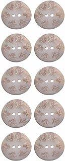 Agoya Shell Button -2 Holes -Laser Etching - Heart Shape Design - 24Line - Natural