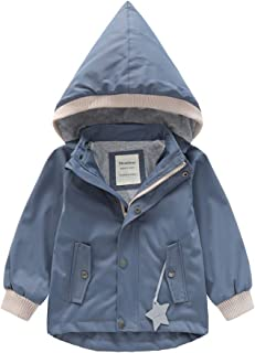 POBIDOBY Toddler Hooded Windbreaker Reflective Jacket Kid Boy Girl Waterproof Raincoat
