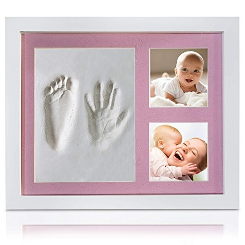 Veahma Baby Quality Clay Imprint Kit! White Wood Picture Frame|(Pink) Mat|Non-Toxic Clay|Hand/Foot Print Kit|Unique New Born Baby, Boy, Girl, Pet, Parents! Newest No Mold Version!