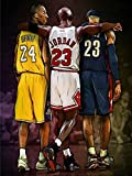 123 Life Michael, Lebron and Kobe Poster Sport Posters Canvas Wall Art Decor Print Basketball Poster Unframed (20x30cm/8 * 12inch)