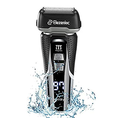 Electric Razor for Men Foil Shaver Wet&Dry Shavers Rechargeable Electric Shaver IPX6 Waterproof Razor with Pop-up Trimmer, Led Display, Travel Lock by Elezenioc