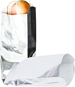 C&S Event Supply Co. Silver Foil Hot Dog Bags - 9'' Unprinted Hot Dog Wrappers - Grease Resistance Food Bags to Keep Food Hot and Non-Messy - 100 Pack Disposable Hot Bags for Fast Food and Food Truck