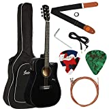Juarez JRZ41CE-BK 41 inch Full Size Semi Acoustic Electric Cutaway Guitar Set with Gig Bag, Strings, Picks