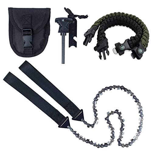 Pocket Chainsaw Justech 33pcs Serrated Hand Saw Chain Survival Folding Hand Saw for Wood Cutting Hiking Camping with 4 in 1 Paracord Bracelet & Firestarter