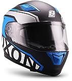 Soxon ST-1000 - Casco integral, Casco de Rostro Completo para Moto, Visera ECE, Cierre rápido, con Bolsa, Azul, S (55-56cm)