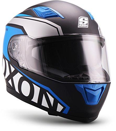 """SOXON® ST-1000 Race """"Blue"""" · Integral-Helm · Full-Face Motorrad-Helm Roller-Helm Scooter-Helm Cruiser Sturz-Helm Sport Urban MTB · ECE 22.05 Sonnenvisier Schnellverschluss Tasche L (59-60cm)"""