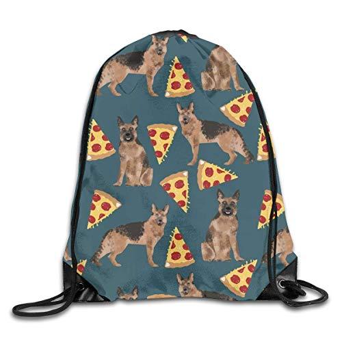shenguang German Shepherd Pizza Drawstring Sports Backpack Gym Yoga Sackpack String Bag Travel Storage Sack For Women And Men Suitable For School Swim Running Beach Outdoor