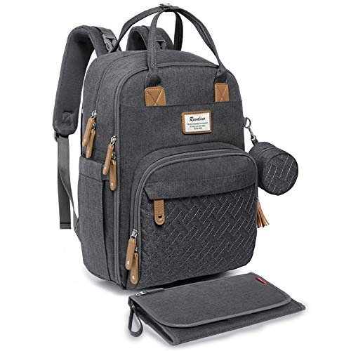 Diaper Bag Backpack, RUVALINO Neutral All-in-One Baby Bags for Boy Girl, Multifunction Large Travel Backpack with Portable Changing Pad, Stroller Straps, Pacifier Case and Insulated Pockets, Dark Gray