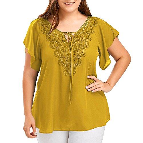 OVERDOSE Damen Mode Casual Chiffon Plus Size Curve Appeal Spitze V-Ausschnitt T-Shirt Bluse Kurze Fledermaus Ärmel Sommer Tops Tees Oberteile(Gelb,EU-50/CN-3XL)