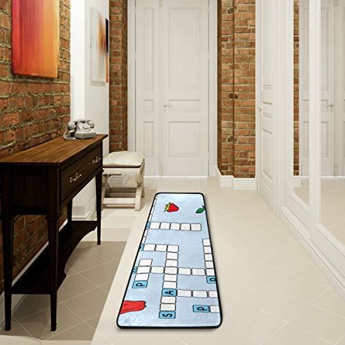 Küchenteppich, rutschfest, weich, Fußmatte, Kreuzworträtsel, Cartoon, großer Badteppich für Wohnzimmer, Schlafzimmer, 182,9 x 61 cm