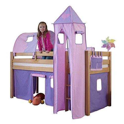 Relita Halbhohes Spielbett Alex mit Vorhang, 1-er Tunnel, Turm und Tasche, Buche massiv, Natur lackiert
