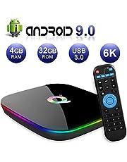 Android TV Box 9.0, 2019 El más Nuevo Android Box 4GB RAM 32GB ROM H6 Quad Core Cortex-A53 Smart TV Box, soporta 6K de resolución 3D 2.4GHz WiFi Ethernet USB 3.0 Media Player