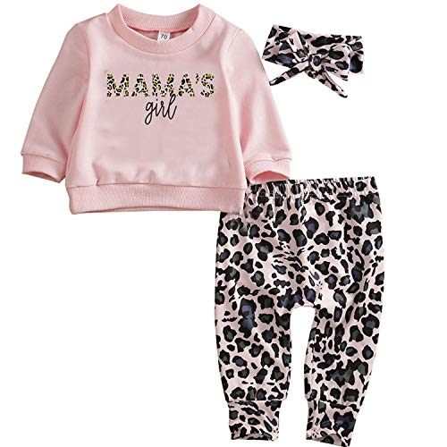 Leopard Baby Outfits for Girls Long Sleeve Baby Girl Clothes Baby Girl Leopard Outfits with Headband...
