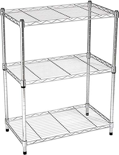 QMHN 3 Shelf Adjustable Wire Shelving Unit Heavy Duty Stainless Steel Storage Rack Standing Garage Shelves Organizer, Chrome (23.3L x 13.4W x 30H)