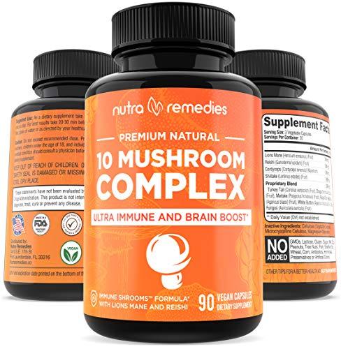 Mushroom Supplement Immunity Energy Booster, 10X - 90 Capsules, Brain Supplements, 10 Organic Mushrooms, 2000mg Reishi, Lions Mane, Cordyceps, Shitake, Turkey Tail, Immune Support Complex