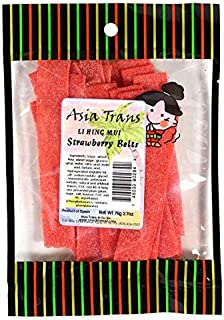 Li Hing Mui Strawberry Belts 2.70 Ounce - Packed Fresh in Hawaii. Sweet and Tart strawberry belt candy sprinkled with Li Hing Mui Plum powder