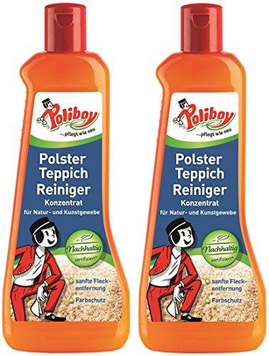 Poliboy - Polster Teppich Reiniger - sanfte Fleckentfernung - Reiniger für Polster und Teppiche - Bodenreinigung - 2er Pack - 2x500ml (1 Liter) - Made in Germany