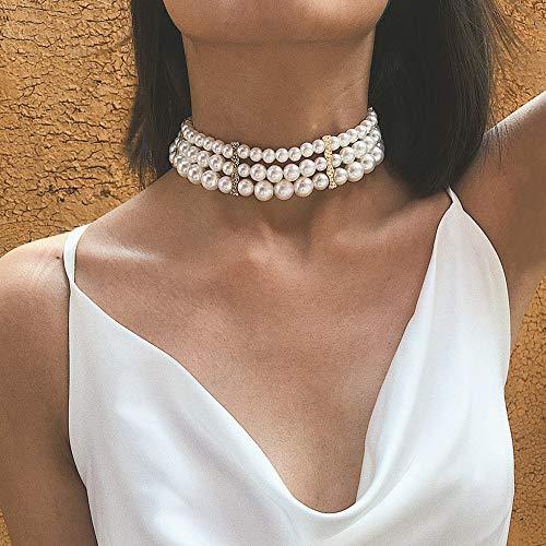 IYOU Girocollo Boho Pearl Collana di perle bohemien d'oro Collana da sposa con girocollo Gioielli per donna e ragazza
