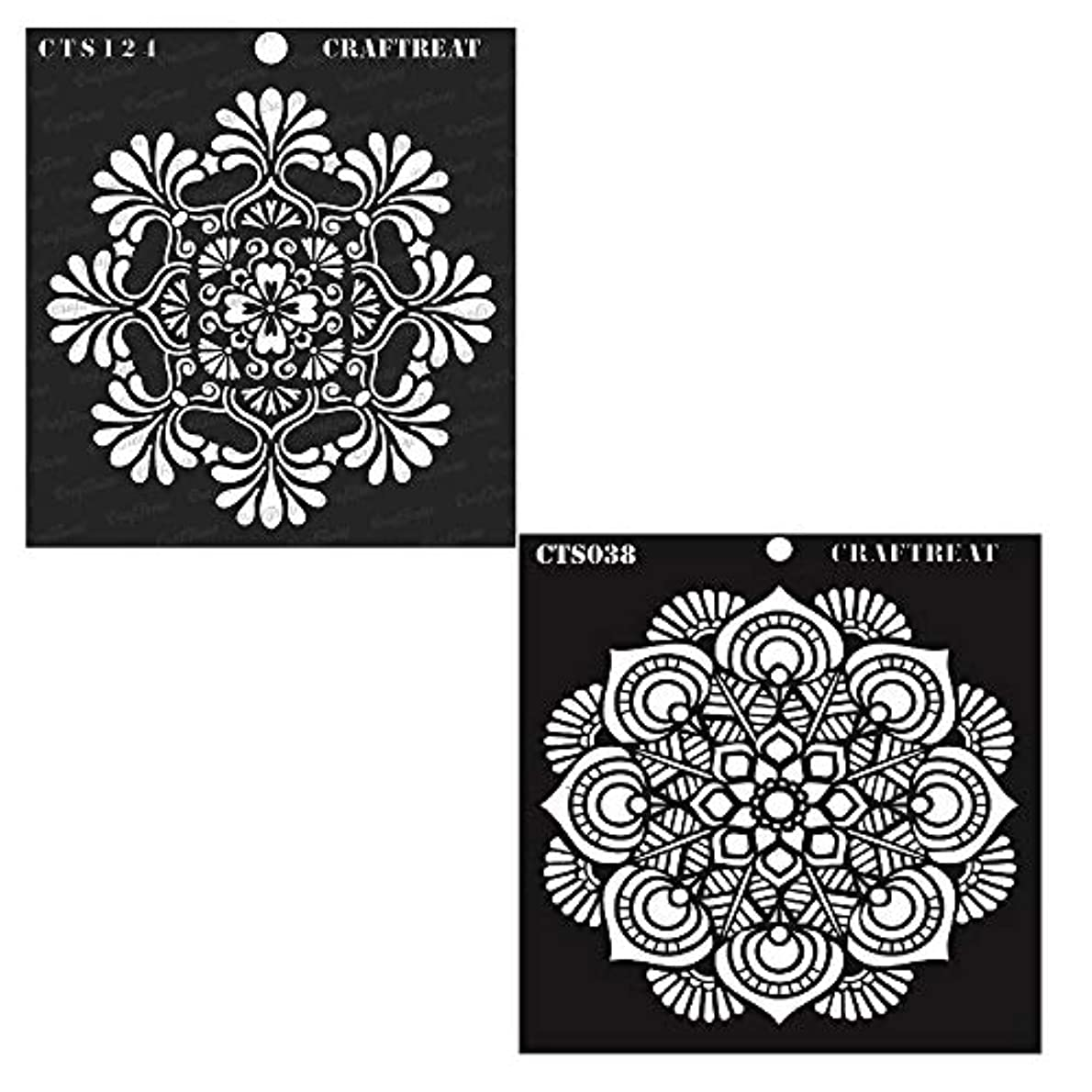 CrafTreat Stencil - Mandala 1&2 (2 pcs) | Reusable Painting Template for Home Decor, Crafting, DIY Albums, Scrapbook, Decoration and Printing on Paper, Floor, Wall, Tile, Fabric, Wood 6