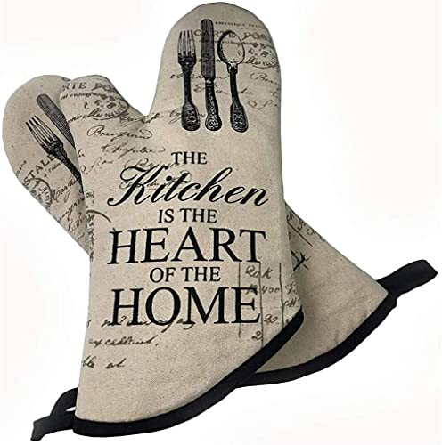 Oven Mitts Kitchen Cotton, Anti-Slip Kitchen Gloves Anti-Scald Microwave Gloves Heat Resistant 500 Degrees Glove for Cooking Baking Grilling BBQ