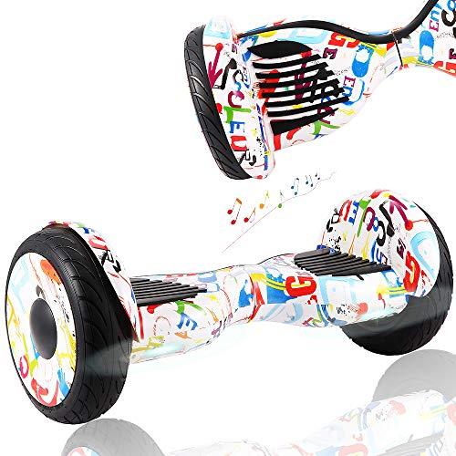 """Wind Way Hoverboard 10"""" - Bluetooth Parleur - Moteur 700W - Vitesse Max 15KM/H - Distance Max 20KM - 4.4AH - Auto Equilibre - Cadeaux Enfants Adultes - Scooter Electrique Pas Cher - Graffiti"""