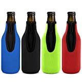 Beer Bottle Insulator Sleeve Different Color. Zip-up Bottle Jackets. Keeps Beer Cold and Hands Warm. Classic Extra Thick...