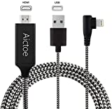 Compatible with iPhone iPad to HDMI Adapter Cable, Aictoe 6.6ft Digital AV Adapter Cord Support 1080P HDTV Compatible with iPhone 11 Pro Xs MAX XR X 8 7 6s Plus iPad to TV Projector Monitor