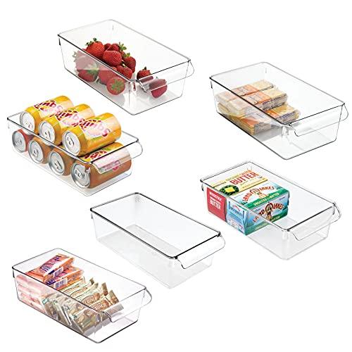 mDesign Juego de 6 cajas de almacenaje para nevera o congelador – Envases de plástico para alimentos – Contenedores de plástico grandes y con asa para la cocina – transparente