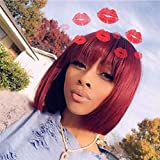 Short Colored 1B/99J Bob Wig with Bangs Glueless 12 Inch Machine Made Wigs Malaysian Straight Remy Hair None Lace Front Wigs for Women Natural Black Root