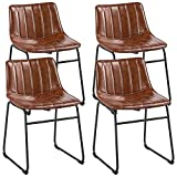 Yaheetech 18' PU Leather Dining Chairs Armless Chairs Indoor/Outdoor Kitchen Dining Room Chairs with Metal Legs Upholstered, Set of 4, Brown
